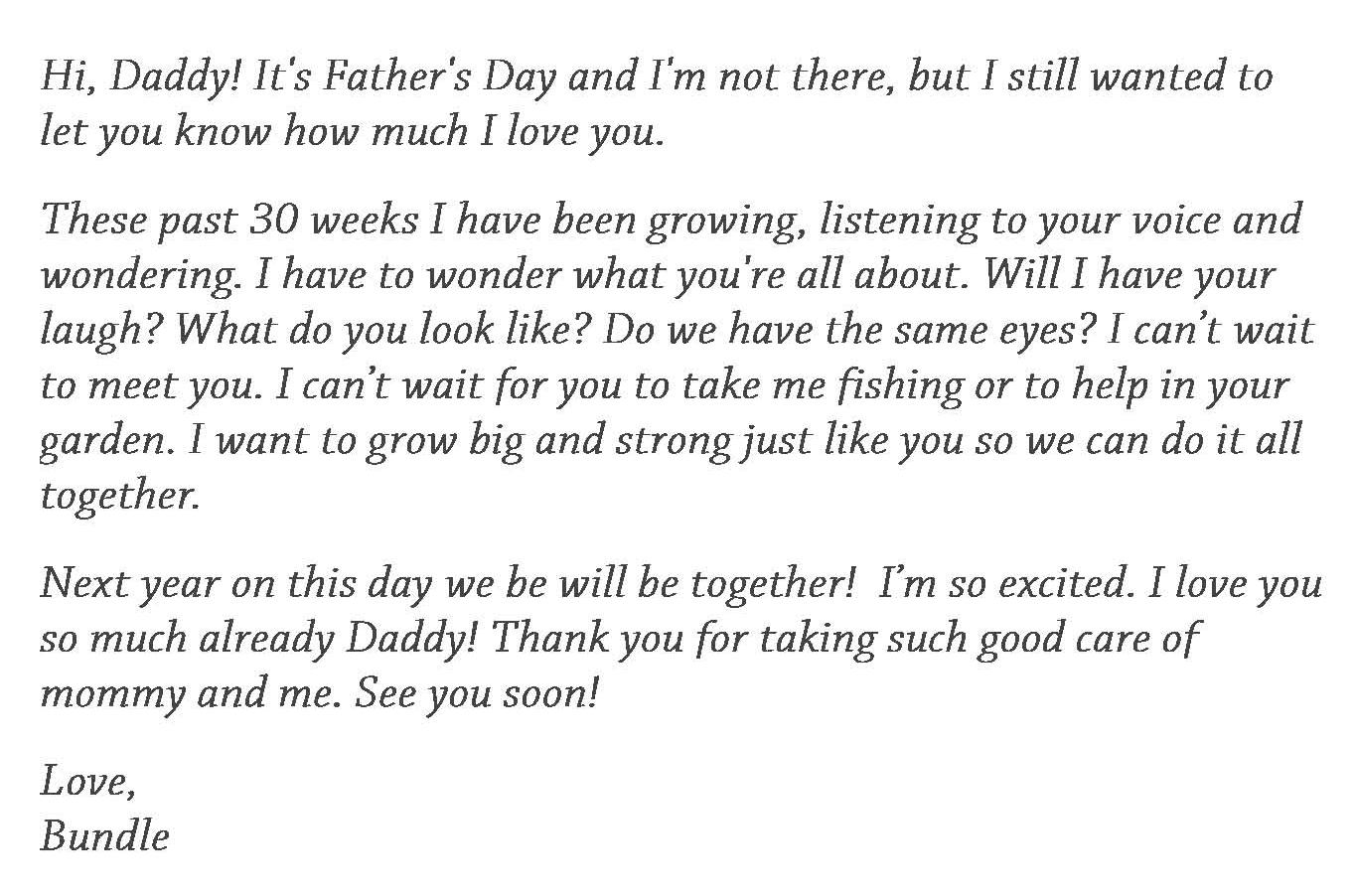 Dear daddy from unborn baby